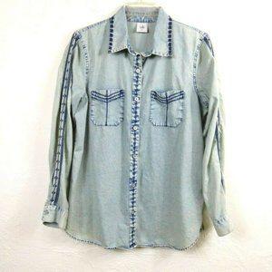Cabi Shirt M Embroidered Chambray Bardot 5058